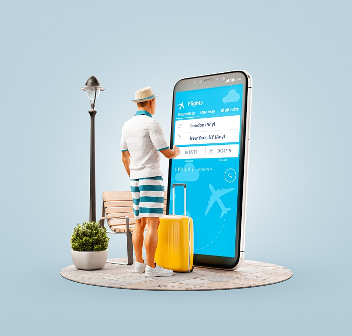man-checking-booking-flight-with-huge-cellphone
