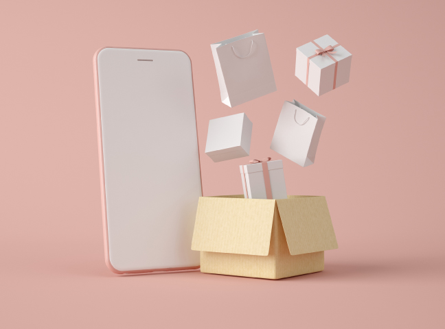 3D Smartphone with white blank screen and carboard box with gifts