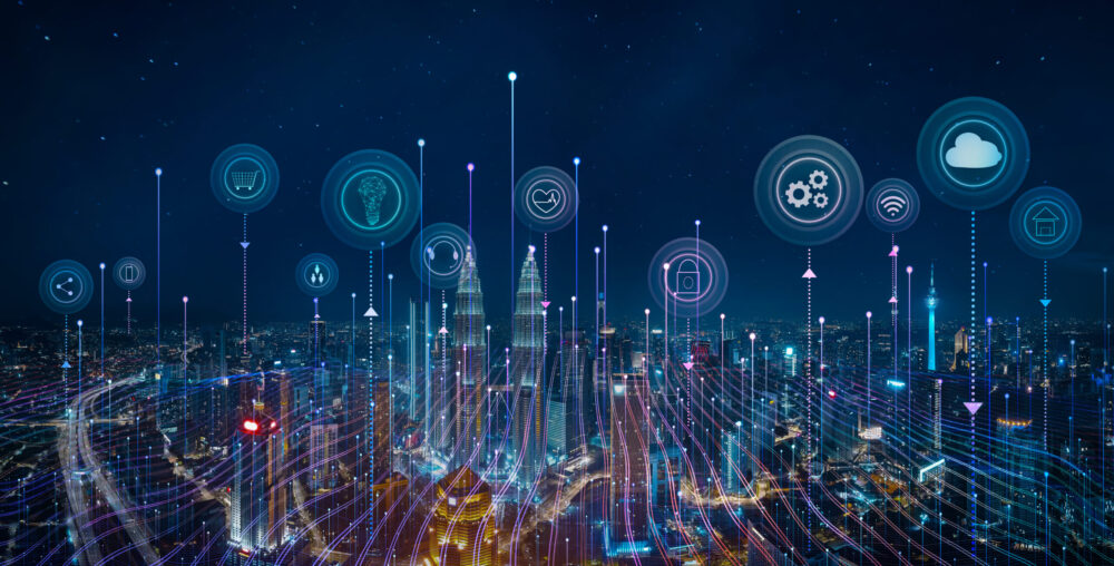 Cityscape skyline aerial view with smart services and icons