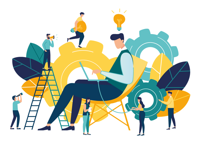 Vector creative illustration of business graphic, company is engaged in joint construction of column graphs, rise career to success, abstract head of person filled with ideas thoughts vector
