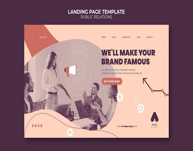 public relations landing page template