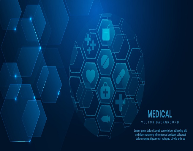 Abstract blue hexagon pattern background. Medical and science concept