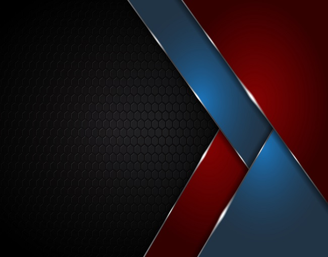 Black Abstract Textured Geometric Red and Blue Shapes