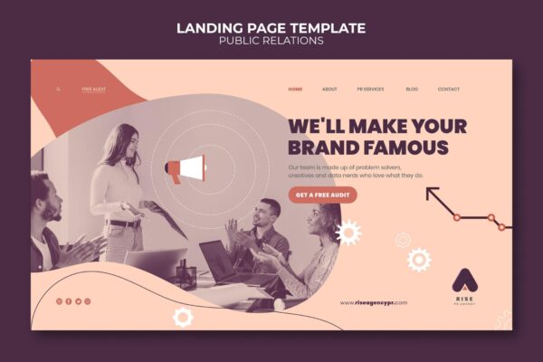 Public relations landing page template with photo 2