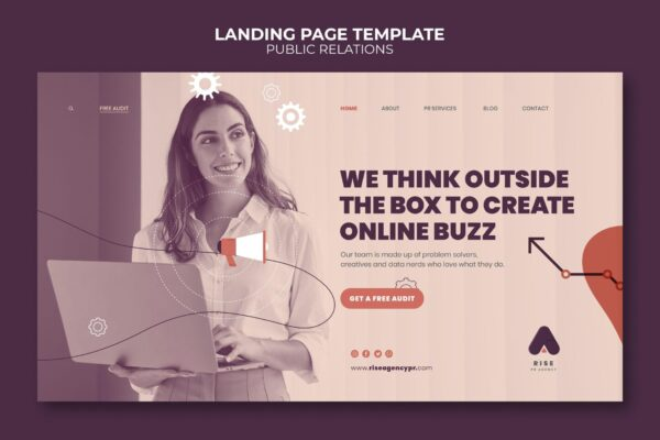 Public relations landing page template with photo