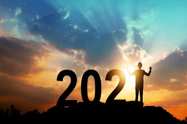 Silhouette of new year 2021