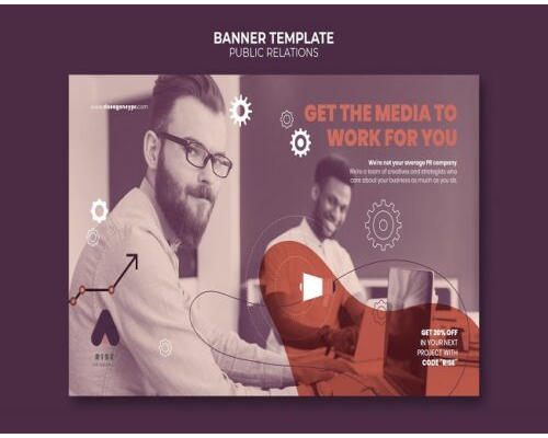 public relations banner template with photo