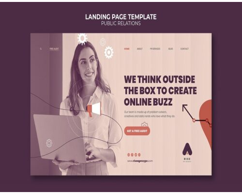 public relations landing page template 1