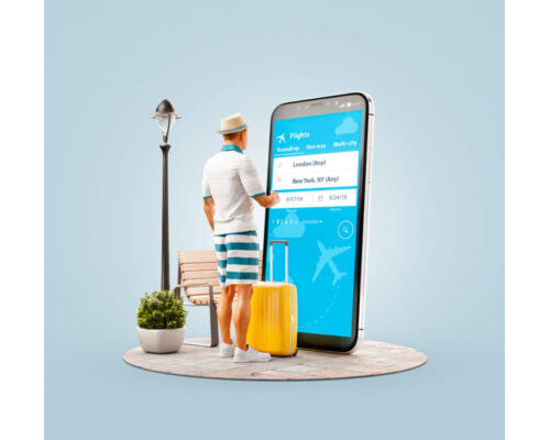 Man Checking Booking Flight with Huge Cellphone
