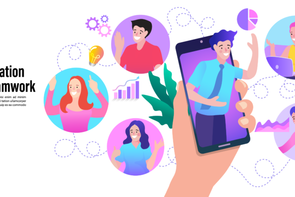 People at Video Conference on Smartphone Illustration